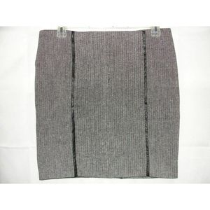 Black Off-white Wool Blend Pencil Zippered Skirt